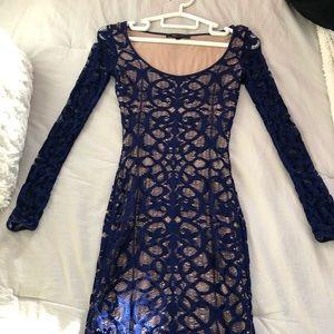 BCBG blue lace bodycon dress